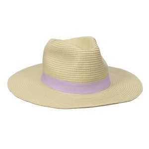 Accessories - NWT Straw panama sun hat with purple band